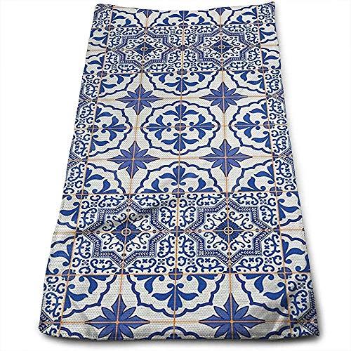 Hangdachang Azulejos portugueses Cuadrícula Personalidad Patrón Divertido Toallas faciales Fibra extrafina Super Absorbente Toallas de Gimnasio Suaves