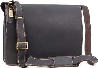 VISCONTI - 18548 Men's Leather Messenger / Shoulder Bag - Laptop Compatible for Work Bag - Harvard - Oil Brown