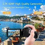 Videokamera Camcorder 2.7K 42MP Videokamera 18X Zoom Camcorder Full HD mit Drehbarem 3,0-Zoll-Bildschirm Videokamera für YouTube Fernbedienung, Webcam - 2