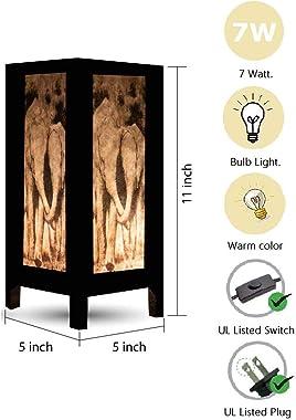 Thai Vintage Handmade Asian Oriental Family Elephant Bedside Table Light or Floor Wood Paper Lamp Shades Home Bedroom Garden