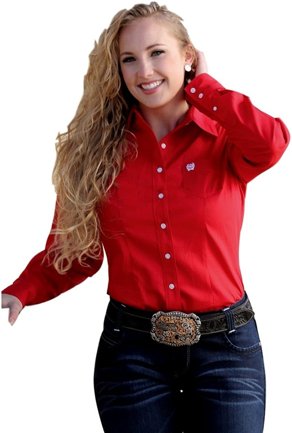 Cinch Western Shirt Womens L S Pocket Button Weave Red MSW9164032