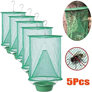 5Pcs Ranch Fly Trap, Most Effective Fly Catcher, Non-toxic Folding Fly Trap Hanging Catcher Cage Net Fly Wasp Killer, Grea...