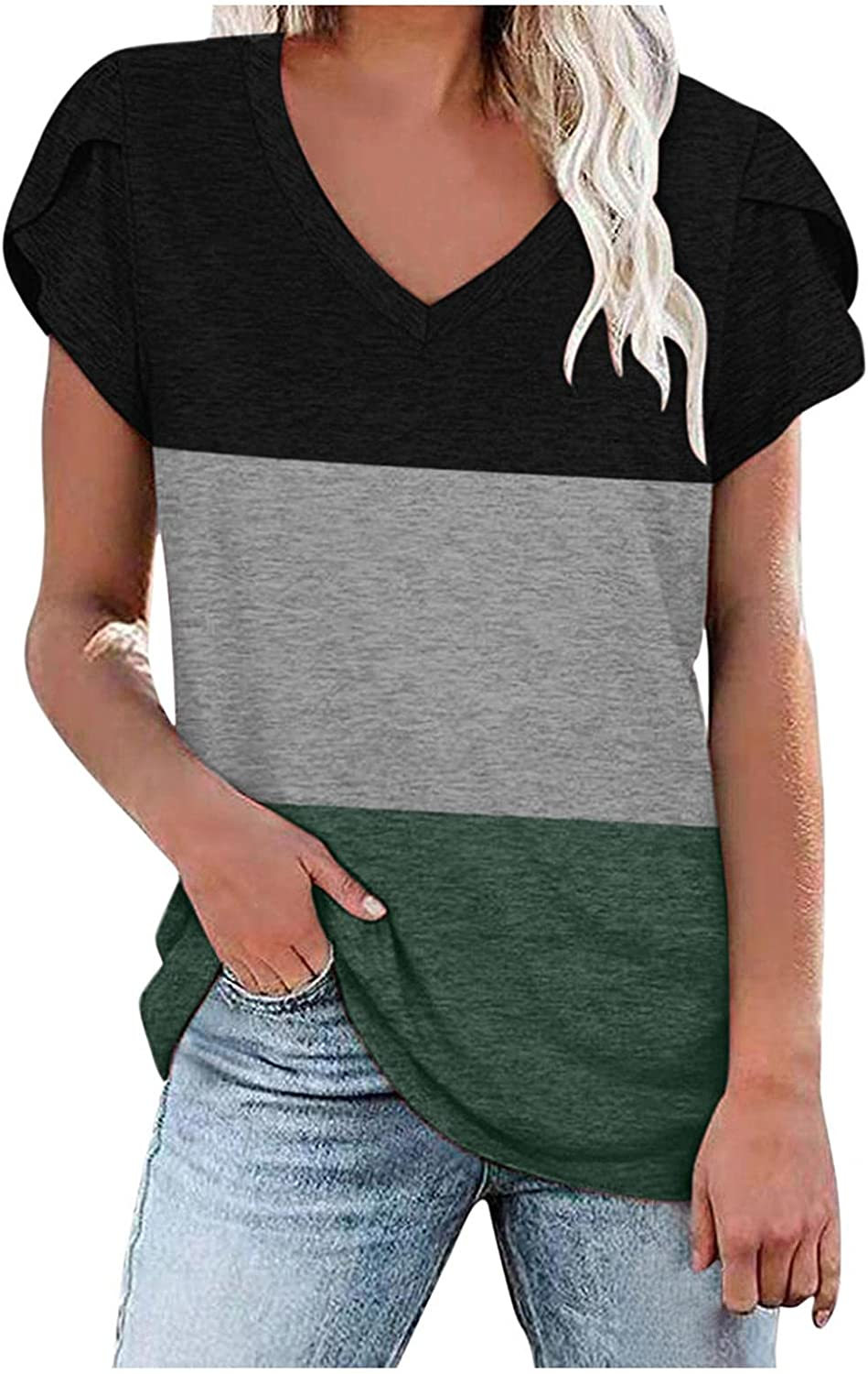 xoxing Summer Tops for Women Casual Plus Size Multi-Color Stitching Short-Sleeved V Neck Loose Tunics Blouse