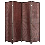 outdoor folding privacy screen - MyGift Decorative Freestanding Brown Woven Bamboo 4 Panel Hinged Privacy Screen Portable Folding Room Divider