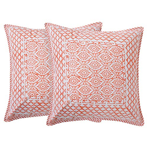 Best Prices! Singhvis Decorative Sierra Pillow Cover 18x18 | Set of 2 | 100% Cotton | Hand Block Pri...
