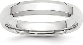 14ct White Gold 4mm Bevel Edge Comfort Fit Band Ring - Ring Size Options Range: H to Z