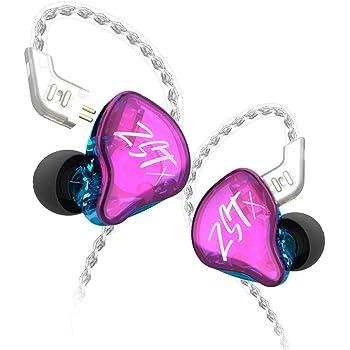 KZ ZSTX 1BA + 1DDハイブリッドユニットインイヤーヘッドフォン、バランスアーマチュアおよびダイナミックドライブユニットヘッドフォン、HIFIベーススポーツDJヘッドフォン、銀メッキの有線イヤフォンヘッドフォン、取り外し可能な有線ヘッドフォン (no mic, purple)