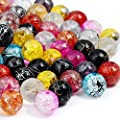 RUBYCA Assorted Mixed Druk Pressed Glass Round Beads Czech Crystal Crackle Splash Paint