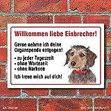 """Vorsicht """"Willkommen"""", Dackel, Hund, 3 mm Alu-Verbund Motiv 2 300 x 200 mm thumbnail"""