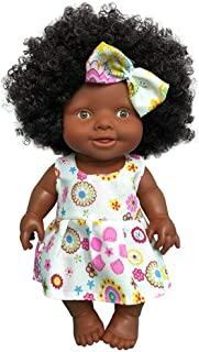 total-shop 10in Reborn Baby Doll Indian African Black Skin Soft Simulation Silicone Black Girl Dolls Fashion African American Doll Lifelike Baby Play Dolls for Kids Toddlers Holiday Birthday
