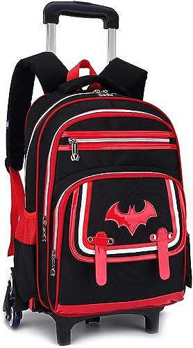 Gucili Rolling Backpack, Gründschule Kinder Cartoon Bat Schultasche, Kinder Reisen Rucksack Taschen mit 2 6 Rollen Abnehmbar für Jungen und mädchen - Schwarz Blau