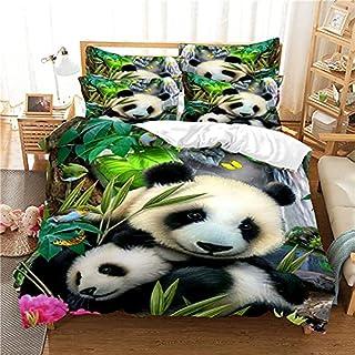 YZHY Panda Parure de Lit 3D Imprimé de Animal, Motif Panda en Bambou Vert Effet 3D, Microfibre avec Taies d'oreillers Hous...
