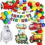 MMTX Décorations de Fête d'anniversaire, Décoration Ballon de Circulation Joyeux Anniversaire Bannière Gâteau DIY Ballon Aluminium Véhicules pour Garçon Anniversaire Bébé Douche Décor