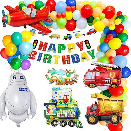 MMTX Verkehr Geburtstagdeko, Geburtstag Dekorationen Kinder Verkehr Happy Birthday Banner Flugzeug Zug Folien Ballon Kuchendeckel für Babyshower Kinder Geburtstagsdeko
