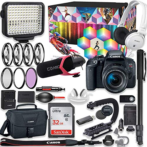 Canon EOS Rebel T7i DSLR Camera Premium Video Kit with Canon 18-55mm Lens + Sony Monitor Series Headphones + Video LED Light + 32gb Memory + Monopod + High End Accessory Bundle