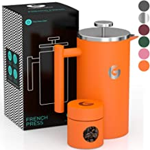 French Press Coffee Maker by Coffee Gator - Hotter-for-Longer Thermal Brewer - Plus Travel Jar - Large Capacity, Double-Wall Insulated, Dishwasher-Safe Stainless Steel - 34oz - Orange