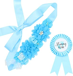 Baby Blue Maternity Sash & Mommy Corsage - Baby Shower Sash Baby Boy Pregnancy Sash Keepsake Baby Shower Flower Belly Belt