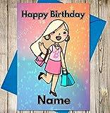 Dibujos animados barbie personalizado tarjeta de cumpleaños–cualquier nombre y edad impreso en la parte delantera