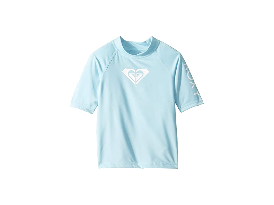 Roxy Kids Whole Hearted Short Sleeve Rashguard (Toddler/Little Kids/Big Kids) (Crystal Blue) Girl