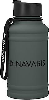 Navaris Botella de Agua de Acero Inoxidable - Cantimplora de Metal de 1.3 L - Garrafa para Bebidas sin BPA para Deporte Ca...