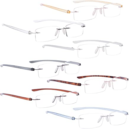 5e517a3831df READING GLASSES 7 pack Mix Color Small Lens Rimless Readers