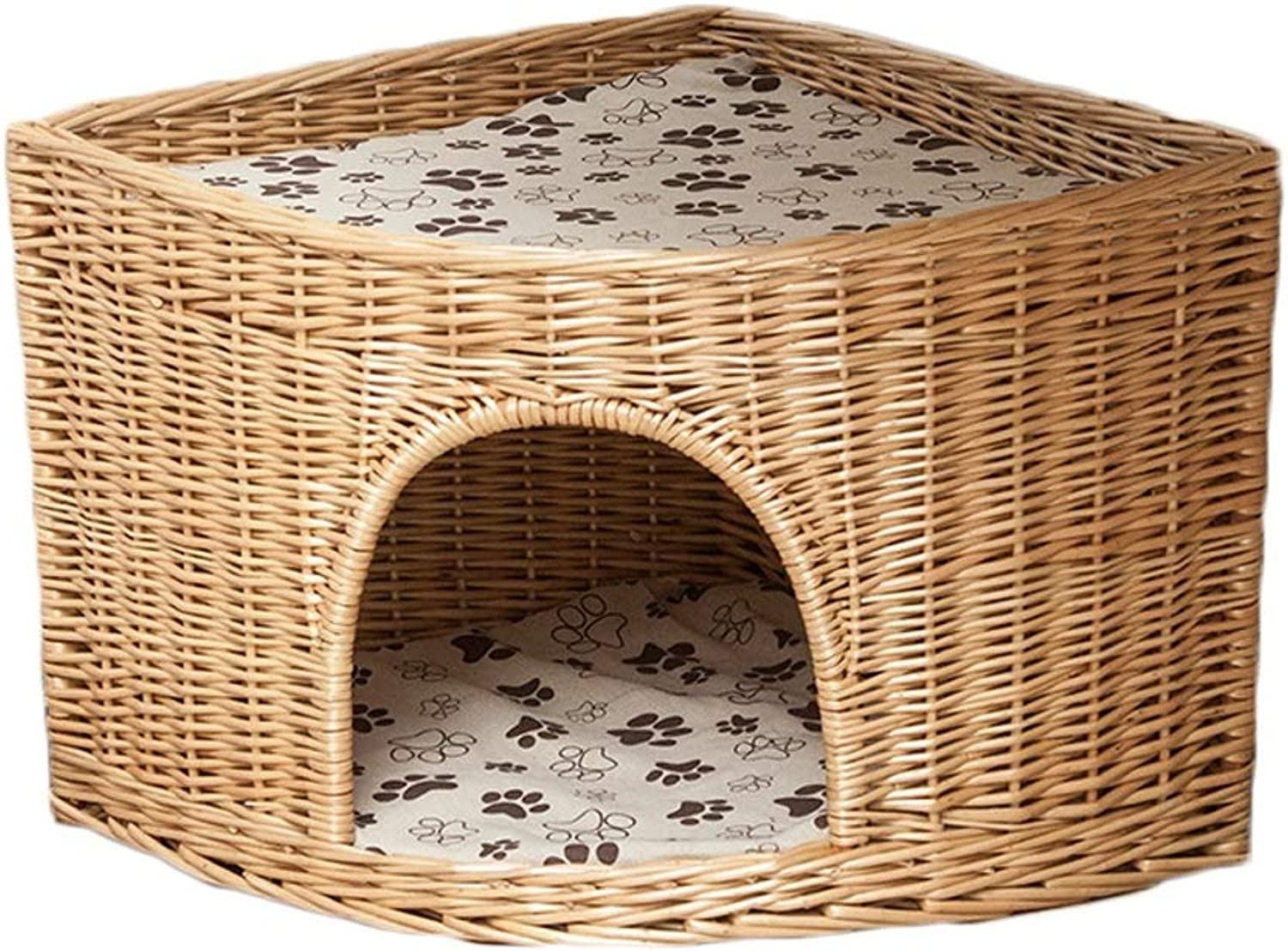 LFpet supplies Rattan Pet Bed Removable And Washable Four Seasons Universal Dog House Cat Litter Fan Angle