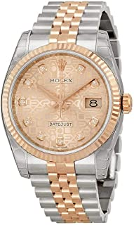 Rolex Datejust Pink Jubilee Diamond Dial Fluted 18kt Rose Gold Bezel Jubilee Bracelet Mens Watch 116231PJDJ