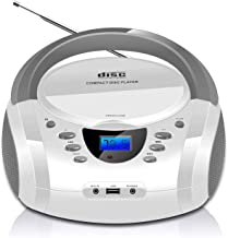 LONPOO CD Player Portable Boombox with FM Radio/USB/Bluetooth/AUX Input and Earphone Jack..