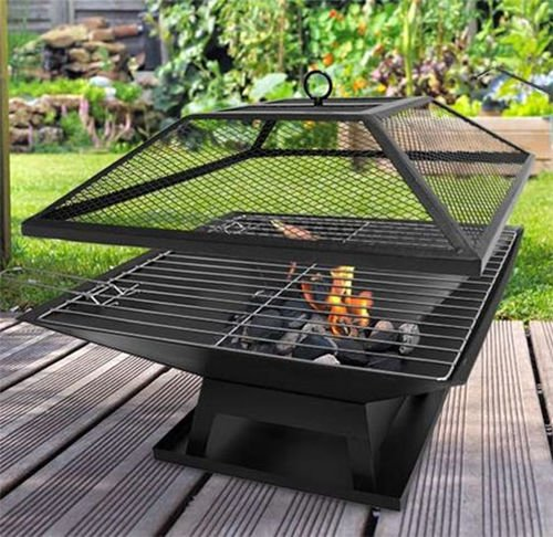 garden mile® Black Square Metal Outdoor Garden Fire Pit BBQ Grill Patio Fire Pit Heater Firepit Square Brazier Garden Pit With Poker (Square BBQ/Fire Pit)