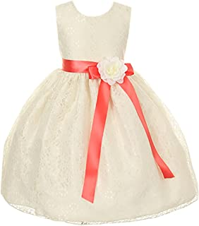a60551646aa Cinderella Couture Girls Elegant Ivory Lace Flower Girl Dress   Contrasting  Sash