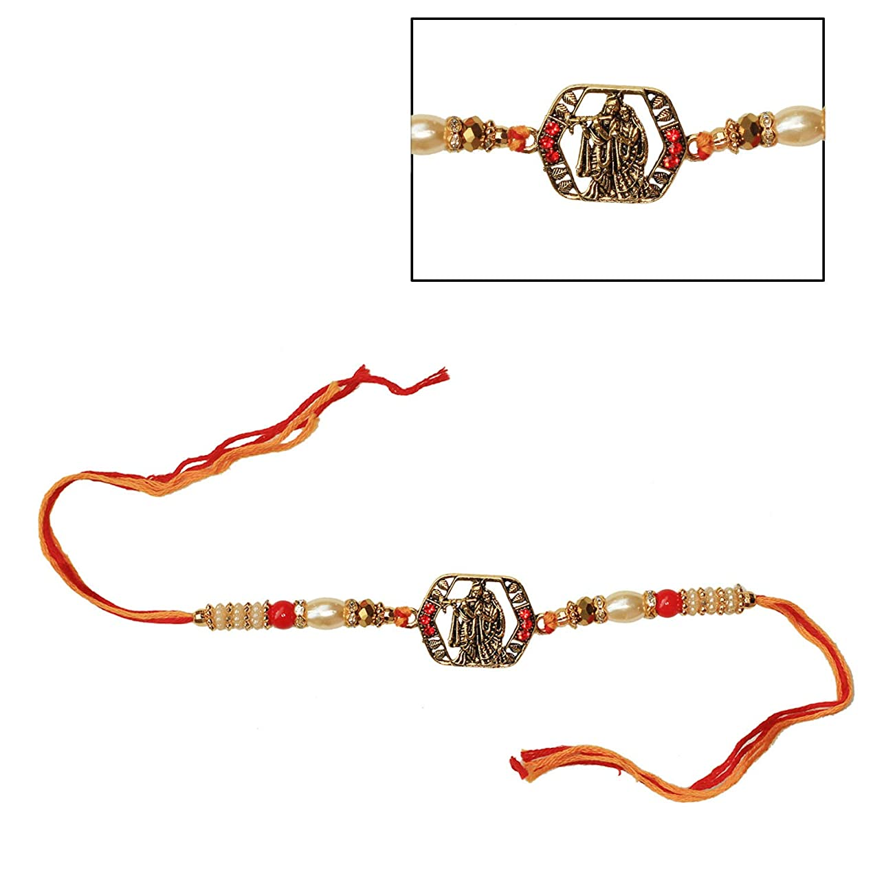 India Store US Designer Radha Krishna Rakhi with Faux Pearls, Beads & Stone - Best Handmade Multicolored Thread with Metal Notch Rakhi for Loving Brother/Sibling/Bhai from India