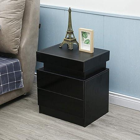 Modern Bedside Table High Gloss 2 Drawers Cabinet Nightstand Bedside Cupboard LED Light Bedside End Table Bedroom Furniture (Black)