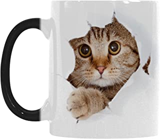 InterestPrint Funny Cat Looking From The Inside I love My Cat Cat Lover Morphing Mug Heat Sensitive Color Changing Coffee Mug Cup, Christmas Gifts for Men Women Him Her Mom Dad