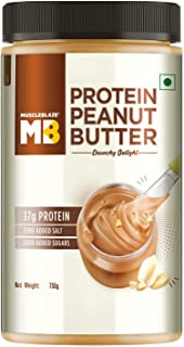 MuscleBlaze High Protein Natural Peanut Butter, Crunchy, 37% Protein, 750g