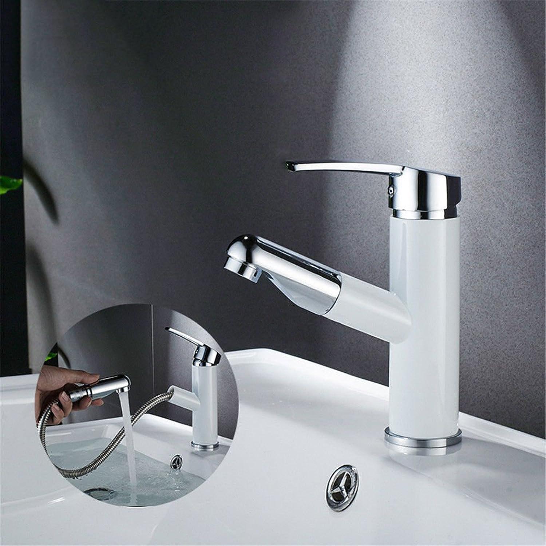 MNLMJ Moderne einfacheKupfer hei und kalt Wasserhhne Küchenarmatur Badezimmer Schrank Wasserhahn ausziehbarKupfer hei und kalt Einlochmontage antiken Wasserhahn wei Geeignet für Badezimmer
