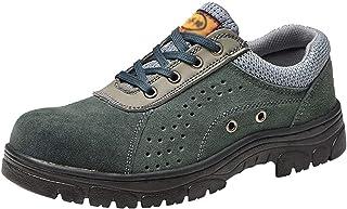 ZYFXZ Chaussures de Travail à Lacets en Cuir de Daim léger, Soudeur de soudage pour Hommes Chaussures de sécurité avec pro...