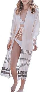 Bsubseach Blusas De Playa De Gasa/Rayón para Mujer Cárdigan Kimono Bikini Largo para Cubrir