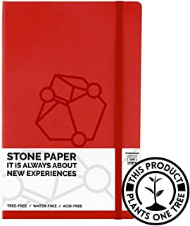 Pocket Size Professional Ruled/Lined Red Hardcover Notebook -A6- Pictostone Journal with Premium Thick Stone Paper, Waterproof, Tree-free - 3.6