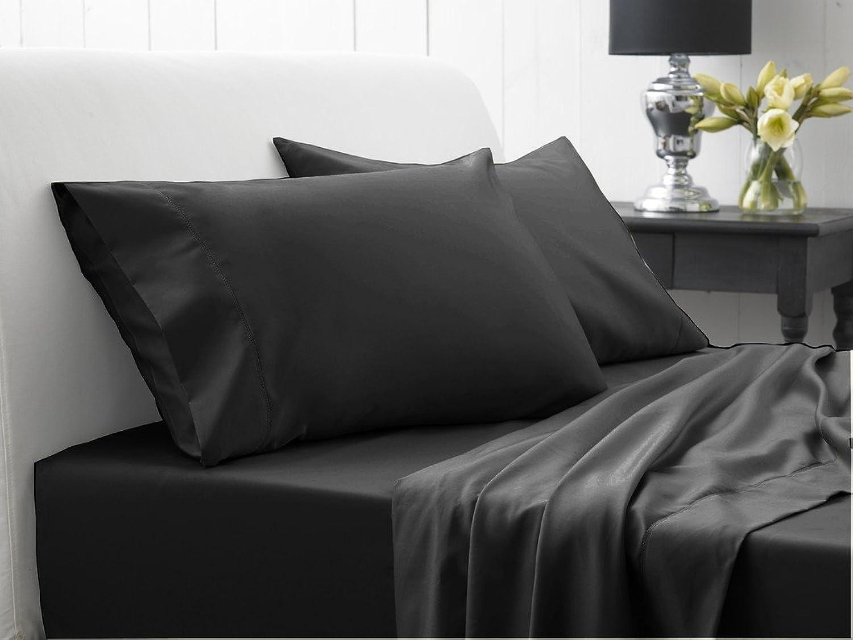 Scala Parure égypcravaten 600Fils 66cm Poche Profonde 6pièce de lit Euro Double IKEA gris foncé Solide 100% Coton égypcravaten 600tc par Avisales