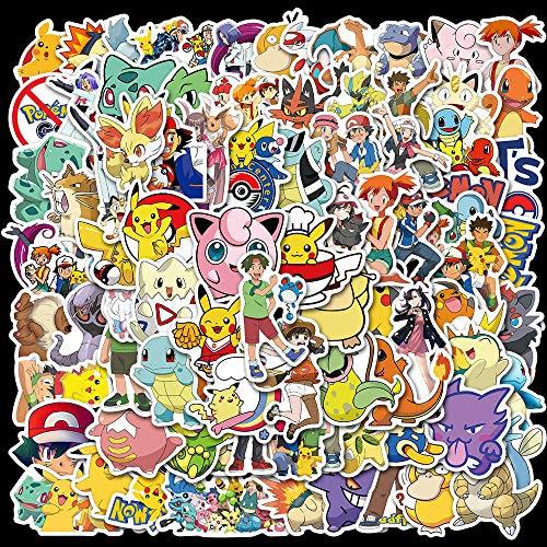 KEJIA Pokemon Dibujos Animados Impermeable computadora teléfono móvil Scooter papelería Pegatinas 100 Hojas