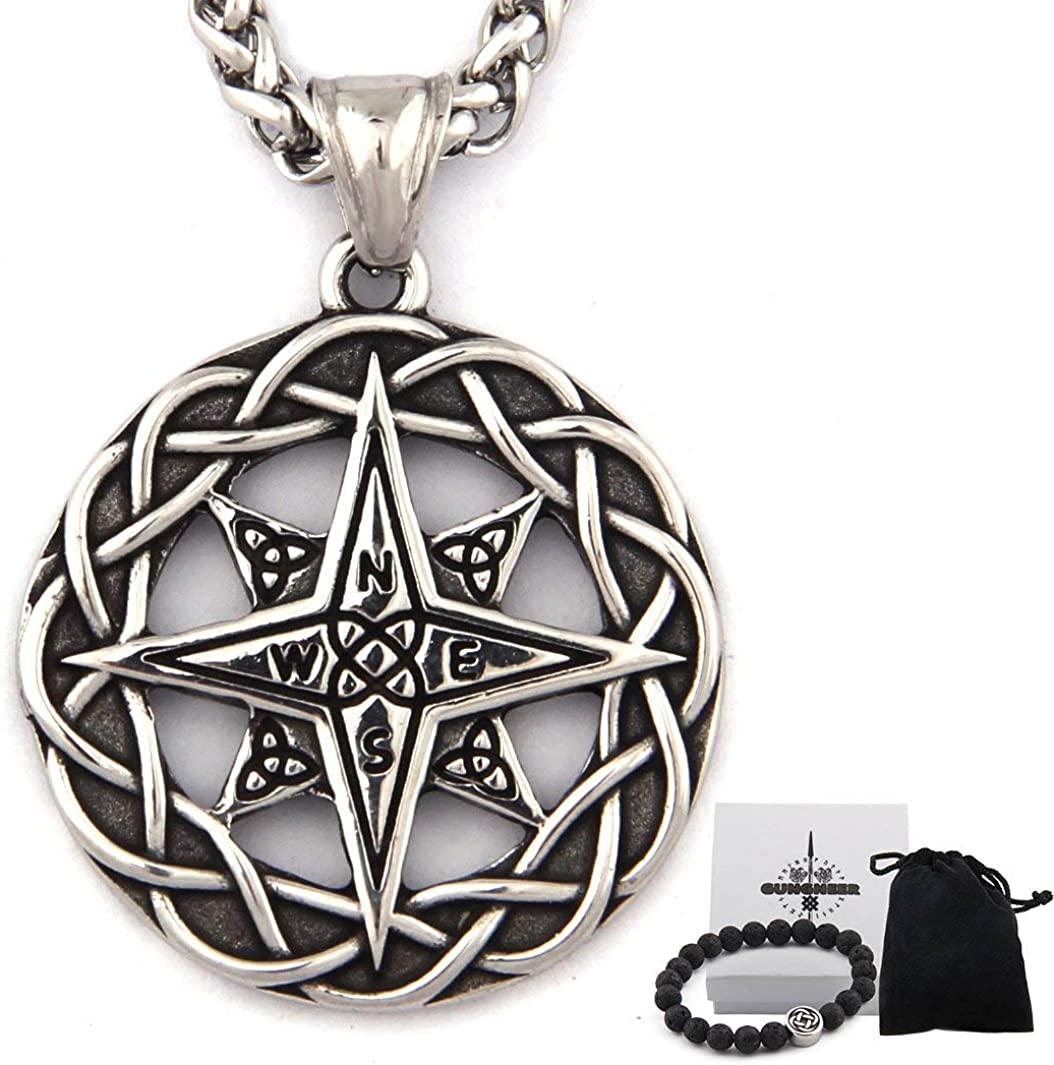 Gungneer Stainless Steel Celtic Knot Triquetra Irish Compass Necklace Trinity Strength Symbol Keel Chain Jewelry