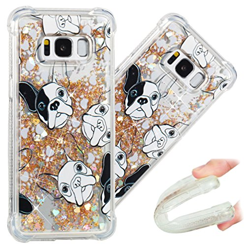 COTDINFORCA Samsung S8 Case, Cute Painted Glitter Liquid Sparkle Floating Bling Quicksand Shockproof Protective Bumper Silicone Case Cover for Samsung Galaxy S8 5.8 inch. Liquid - Gold Dog