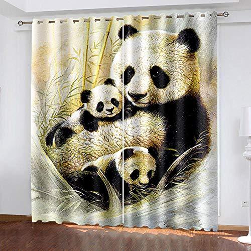 Cortinas Opacas 3D Panda Lindo Cortinas con Ojales Dormitorio Habitación Infantil Decoración Moderna Aislante Y Ruido Reducción Poliéster 280X250Cm