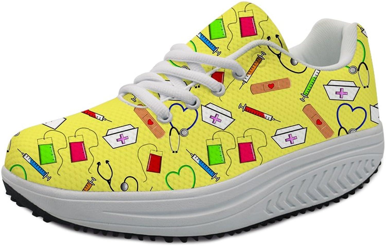 INSTANTARTS Cartoon Nurse Fitness Walking shoes Casual Women Wedge Platform Sneaker Lace up