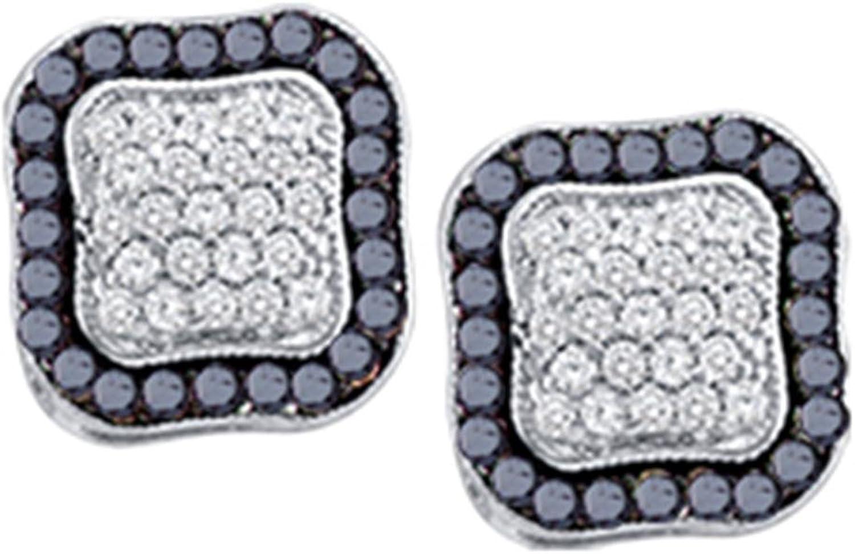 10kt White gold Womens Round Black color Enhanced Diamond Cluster Earrings 1.00 Cttw