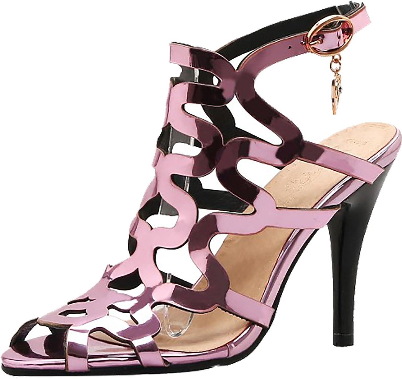 Calaier Womens Catxaq Peep-Toe 10CM Stiletto Buckle Sandals shoes