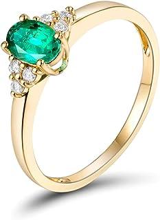 Daesar Anello Oro Giallo 18Kt, Anelli Donna Fidanzamento Forma Ovale Smeraldo 0.5ct con Diamante 0.09ct Anello Oro Giallo ...