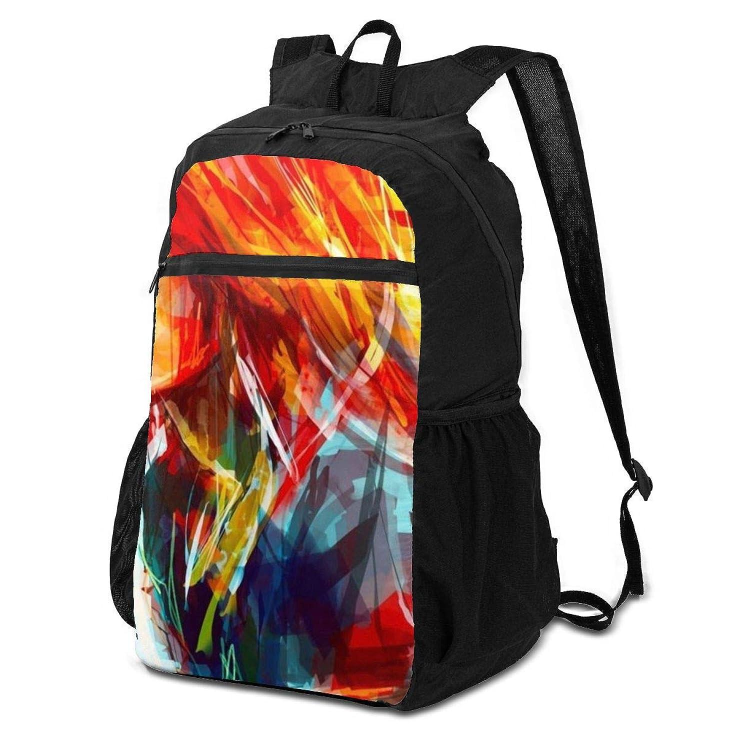 アナログそばに酔う登山リュック ザック 青い抽象芸術 バックパック 軽量 防水 通勤 小型旅行 折りたたみ式キャンプ アウトドアバッグ