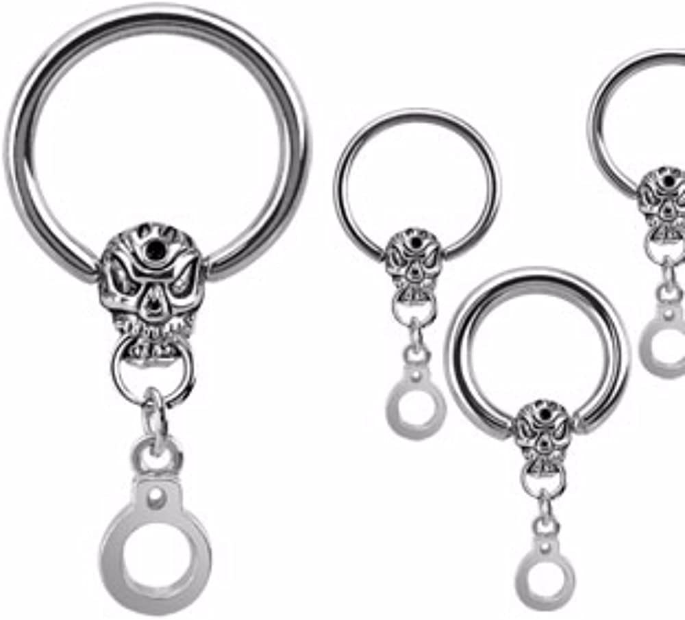 Covet Jewelry Skull and Handcuff Dangle CBR 316L Surgical Stainless Steel New