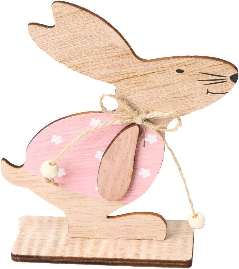KEFAN Packung mit 3 kleinen Osterhasen-Tischdekors aus Holz S/ü/ße Oster-Deko aus Holz f/ür das Gesch/äft und das B/üro zu Hause 3 kleine